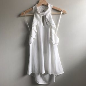 NWT SEXY Open Back White Ruffled Top
